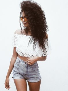 @roressclothes clothing ideas #women fashion white crop top, denim shorts