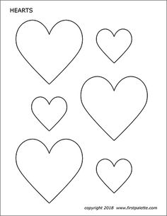 Ten free printable heart sets of various sizes to color and use for crafts and learning activities. Heart Shapes Template, Printable Heart Template, Shape Templates, Stencil Templates, Free Printables, Printable Hearts, Owl Templates, Applique Templates, Applique Patterns