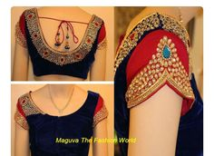 Latest saree blouse designs Latest wedding blouse designs for 2016 party wear. Blouse neck and blouse back designs that are trend now. Top best blouse designs for wedding fashion trend. Pattu Saree Blouse Designs, Blouse Designs Silk, Designer Blouse Patterns, Bridal Blouse Designs, Choli Designs, Design Patterns, Sari Design, Jessy James, Stone Work Blouse