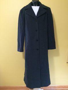 WORTHINGTON Wool Cashmere Black Trench Coat long winter Jacket Women's Size 14 #Worthington #BasicCoat