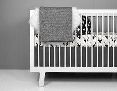 Crib Bedding Set - Black + Ivory Deer by olliandlime on Etsy https://www.etsy.com/listing/286253089/crib-bedding-set-black-ivory-deer
