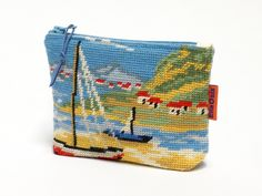 Vintage Needlepoint Cosmetic Bag - zippered pouch - pinned by pin4etsy.com