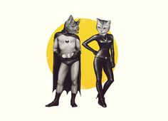 A BAT AND A CAT T-shirt Design by Yannick Bouchard