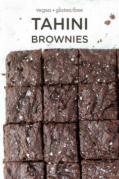 TAHINI BROWNIES -- easy homemade dessert recipe made with quinoa flour so they're GF, full of protein and HEALTHY! [also vegan & oil-free] Simply Quinoa Quinoa Desserts, Clean Eating Desserts, Healthy Desserts, Delicious Desserts, Vegan Gluten Free, Gluten Free Recipes, Vegan Recipes, Quinoa Flour Recipes, Paleo Vegan