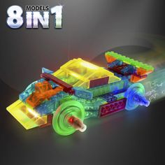 Power Block Sports Car. Power Block Sports Car, over 8 Models in 1 Kit Build over 8 Light Up, rolling, model cars with the Laser Pegs® Power Block Sports Car kit. This new power base has construction brick nubs on its surface and comes with detachable light up rolling tire pegs so that you can build the base into your model. The kit comes with 83 tinted construction parts that let you build a Rally Car, F1 Racer, Roadster or even your own rolling model Laser Pegs®…