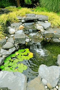 Small pond with waterfall made in backyard garden Stock Photo - 30761298 Pond Landscaping, Ponds Backyard, Garden Ponds, Koi Ponds, Fish Pond Gardens, Small Gardens, Water Pond, Water Garden, Small Garden Waterfalls