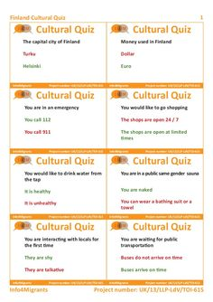 Finland Country quiz  teacher's cards  Project number UK/13,LLP-LdV/TOI-615