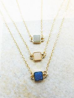 Mini gold druzy square necklace