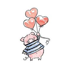 Piggy Love with 3 Heart Balloons - By Penny Black This Little Piggy, Little Pigs, Cute Drawings, Animal Drawings, Images Disney, Pig Drawing, Pig Art, Heart Balloons, Cute Pigs