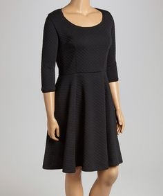 Love this Black Quilted Fit & Flare Dress - Plus by MM2 on #zulily! #zulilyfinds