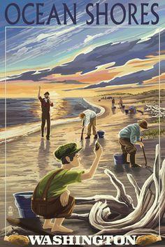 Ocean Shores, Washington - Clam Diggers - Lantern Press Artwork (Art Print Available), Multi Ocean Shores Washington, Framed Art, Wall Art, Wall Decor, Ocean Park, Stock Art, Driftwood Art, Vintage Posters, Clam
