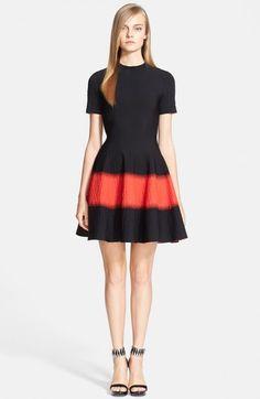 Alexander Mcqueen Women's Textured Fit Flare Dress | Clothing