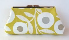 Framed Clutch Purse Yellow White Gray Floral by nangatesdesigns