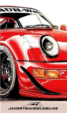 Porsche 911, Car Wallpaper For Mobile, Car Part Art, Cool Car Drawings, Classic Japanese Cars, Porsche Motorsport, Car Vector, Japon Illustration, Motorcycle Art
