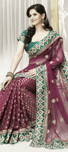 Charming Pink Brocade & Net Saree
