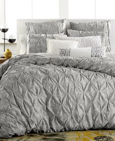 Bar III Diamond Pleat King Duvet Cover - Bedding Collections - Bed & Bath - Macy's Bridal and Wedding Registry Bedroom Makeover, Luxury Bedding Collections, Bed, Home, Contemporary Bedroom, Luxury Bedding, Gray Duvet Cover, Home Bedroom, Bedding Sets