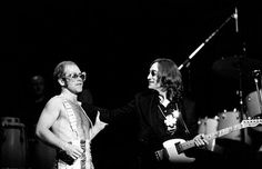 Elton John and John Lennon at Madison Square Garden in NYC on Thanksgiving night, November 28, 1974. This would turn out to be Lennon's last stage performance.