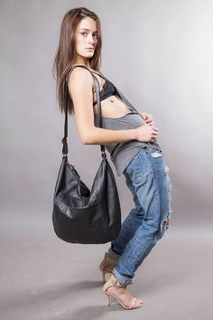 e9ac52b5b4f Black leather bag - leather purse SALE hobo leather bag - cross body bag - leather  shoulder bag - wo