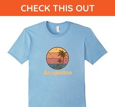 Mens Retro Acapulco Mexico T Shirt Vintage 70s Sunset Tee Design Large Baby Blue - Retro shirts (*Amazon Partner-Link)