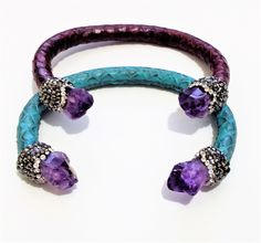 Crystal paved Amethyst bangle cuff with leather snake wrapped