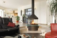 """Focus Meijifocus takes its name from the word """"renewal"""" in Japanese. The Japanese inspired, circular, Meijifocus is platform mounted and fully glazed, providing warmth, safety and efficiency. This stove includes a suspended hood and steel mounting platform. #focusfireplace #fireplace #focus #hearthandcook"""