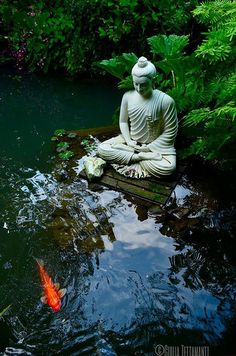 Koi carp and Siddharta | Flickr - Photo Sharing! Amazing Gardens, Beautiful Gardens, Parks, Zen Garden Design, Zen Design, Patio Design, Garden Art, Landscape Design, Meditation Garden