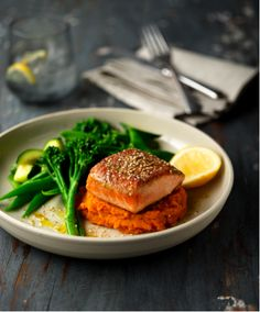 No.3 Seared Salmon fillet with sweet potato, broccolini & choy sum