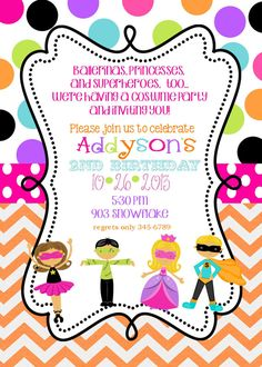 costume party children's birthday party invitations by jill means, Party invitations