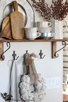 Christmas Kitchen Shelf Decorating by The Wood Grain Cottage