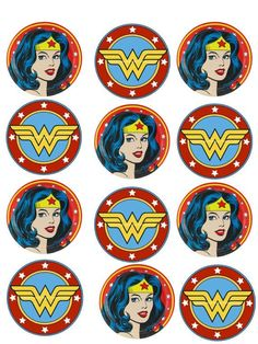wonder woman cupcake edible topper by on Etsy Wonder Woman Comics, Logo Wonder Woman, Wonder Woman Cake, Wonder Woman Superhero, Wonder Woman Birthday, Wonder Woman Party, Anniversaire Wonder Woman, Superhero Cupcake Toppers, Superhero Cake