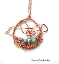 Statement necklace - bird in nest with eggs