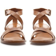 Zara Block Heel Strappy Sandal ($50) ❤ liked on Polyvore featuring shoes, sandals, flats, sapatos, leather, strappy sandals, flat shoes, leather sandals, flat pumps and leather shoes