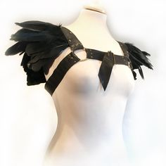 FunkPlus Black Leather Harness with claw spike spine down the back