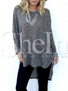 Shop Grey Round Neck Dip Hem Glitter T-Shirt online. SheIn offers Grey Round Neck Dip Hem Glitter T-Shirt & more to fit your fashionable needs.