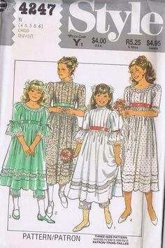 "4247 Style Girls One PC Bridesmaid Dress Pantaloons SIZE 4-6 BUST 23-25"" UNCUT"