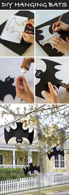 diy halloween deco - just hang up the bats falschrum. - diy halloween deco – just hang up the bats falschrum. Bat Decoration upside down – for the more - Casa Halloween, Theme Halloween, Halloween Projects, Holidays Halloween, Happy Halloween, Diy Projects, Halloween 2014, Couple Halloween, Outdoor Halloween