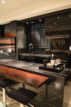 New Kitchen Bar Table Decor Ideas Contemporary Kitchen Design, Interior Design Kitchen, Home Design, Design Ideas, Black Kitchens, Luxury Kitchens, Home Kitchens, Kitchen Black, New Kitchen