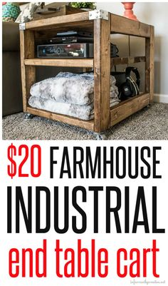 farmhouse cart - industrial end table cart - great diy furniture idea