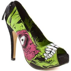 Iron Fist Women's Zombie Stomper Plat - Black Green ($48) ❤ liked on Polyvore featuring shoes, pumps, heels, zapatos, high heels, women, open toe, platform, stiletto heels and trendy