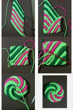 1. Tawashi starts out like this, 2. Fold one corner in..., 3. Then fold the other corner in..., 4. Slip stitch that seam together., 5. With a needle and tail end of yarn sew both open ends closed, 6. Voila tawashi! Created with fd's Flickr Toys