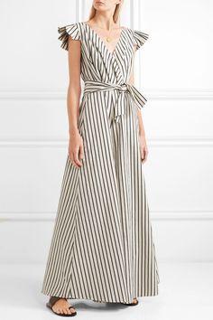 e73f722817 Paper London - Maya Wrap-effect Striped Canvas Jumpsuit - Cream
