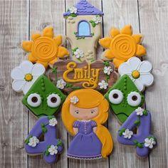 Tangled Inspired Disney Rapunzel Decorated Cookies Girl Birthday by FlourishCookies on Etsy https://www.etsy.com/listing/385162446/tangled-inspired-disney-rapunzel