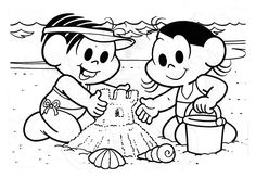 Mônica e Magali na praia