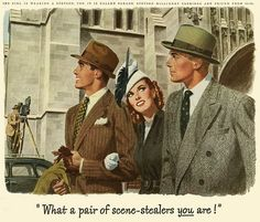 Two dapper chaps and a stylishly attired lady all sporting Stetson hats. #vintage #hat #ad #1940s #men #woman #fashion
