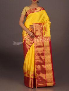 Jigna Broad Molten Gold Border Wedding #DharmavaramSilkSaree