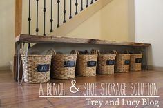 19 Ways to Organize Your Shoe Clutter on a Tight Budget Here's 19 shoe storage and organization hacks that are worth trying even if you are on a budget. You will love these DIY shoe organizer ideas! Check it out! Shoe Storage Diy, Shoe Storage Solutions, Diy Shoe Rack, Laundry Room Storage, Storage Ideas, Bedroom Storage, Shoe Racks, Front Door Shoe Storage, Shoe Storage With Baskets