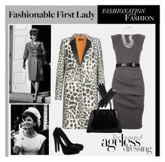 """A Tribute to Fashionable First Ladies: Jackie Kennedy"" by elena-indolfi ❤ liked on Polyvore featuring Joseph, Prada, H&M, outfit, elena indolfi, jackie jennedy, print animal, a tribute to fashionable first ladies, set and black"