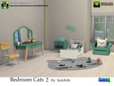 Continuation of the bedroom Cats, this time with a bed for infants, decorative pillows for the two beds, a table lamp and another wall lamp, a nice dressing table for girls, a comfortable armchair,...