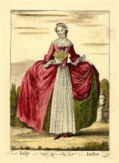A lady standing in a garden looking away to left, holding a fan in her right hand, wearing a hooped gown with a sprigged apron, lace cuffs and fichu, a lace choker and cap; from a set of twelve fashion plates.  1749  Hand-coloured etching and engraving