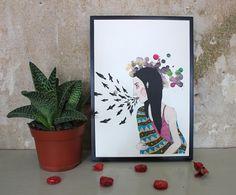 Indianische Märchenerzählerin – Illustration A4 von Irina Mmurs Things auf DaWanda.com